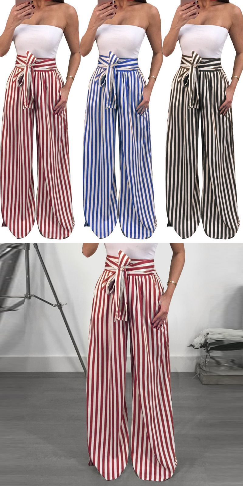 Casual pants women striped high waist striped printed bandage trousers  wide-leg harem pants pantalones anchos yjj34  cotton a5ce5180b56