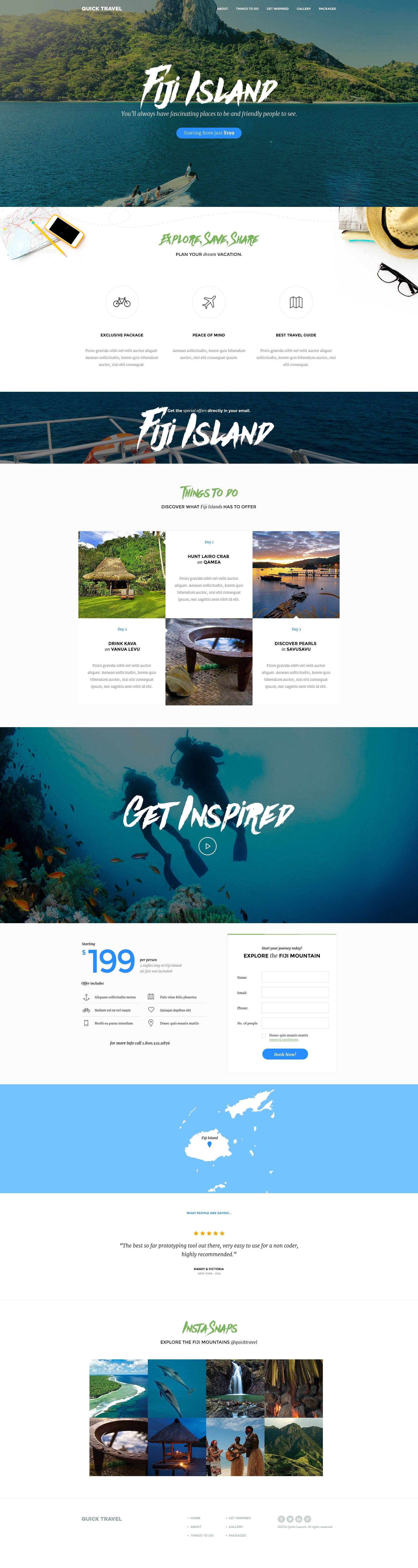 QuickTravel Unbounce Landing page is best suitable for Travel Agency's / Travel Agents offering special tourism packages to exotic locations. Fonts Used Merriweather Montserrat Note: Imag...