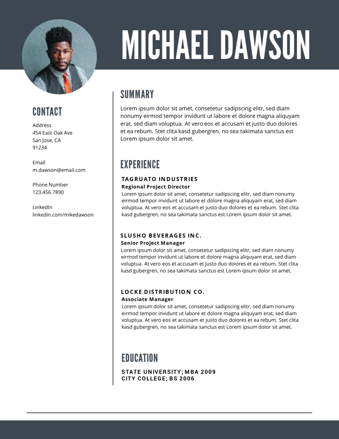 Gray midlevel resume template Free professional resume