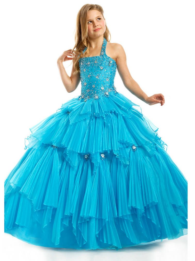 Halter ruched long princess tiered beaded crystal blue
