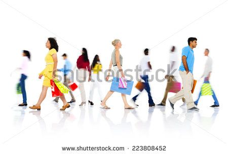 Diverse People Walking with Shopping Bag