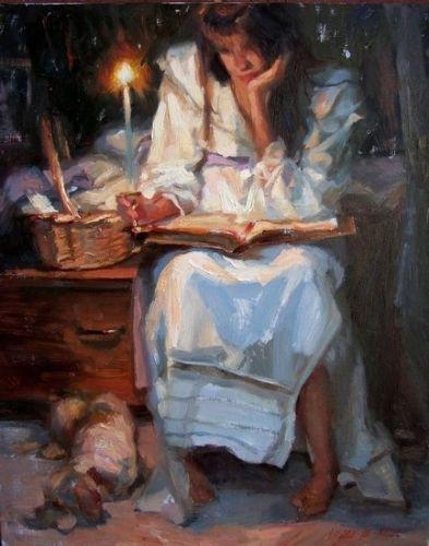 """Bedtime Stories"", Oil on Linen by Gladys Roldan-de-Moras, Impressionist"