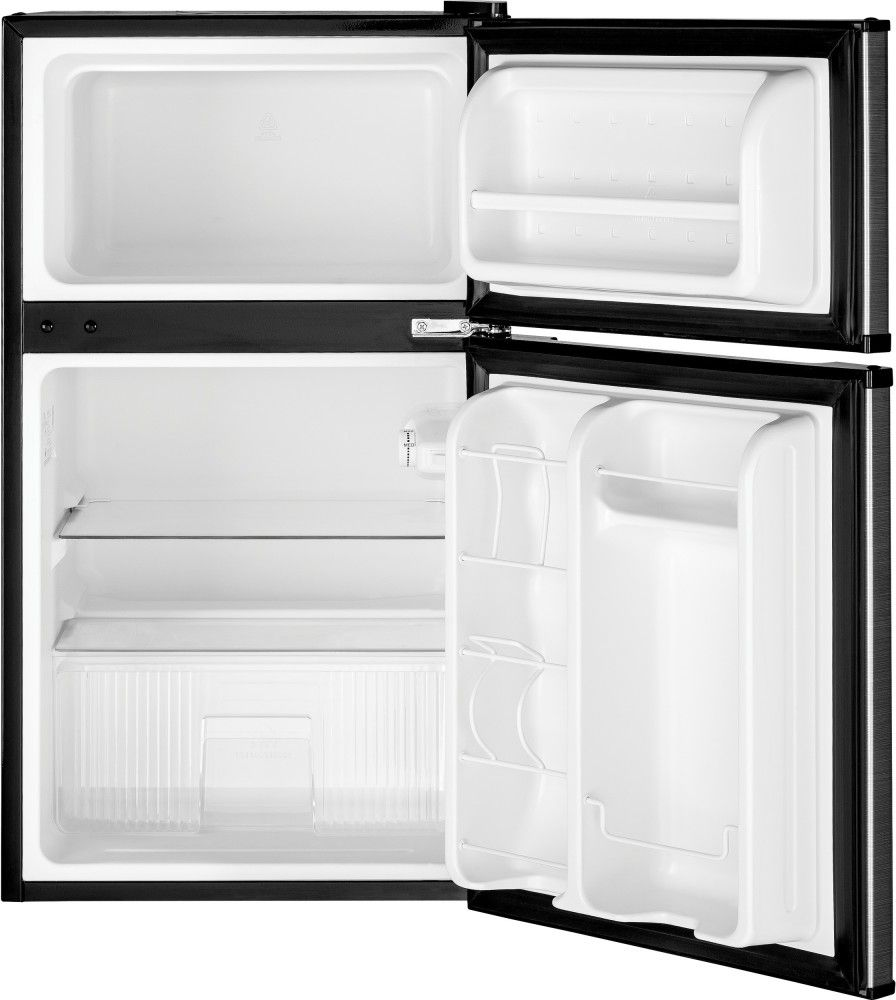Ge Gde03gk 19 Inch Top Freezer Compact Refrigerator With 2 Glass Shelves Storage Drawer 2 Door Bins Bever Compact Refrigerator Glass Shelves Storage Drawers