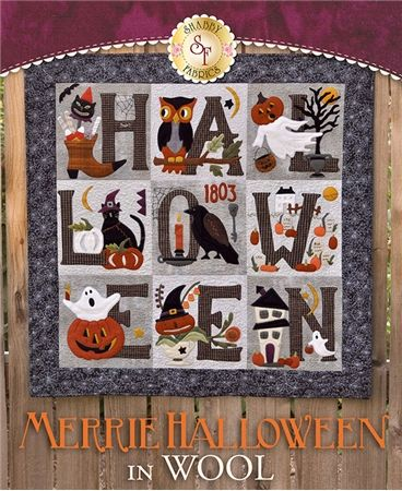 Merrie Halloween BOM - in WOOL: Get your home ready for Halloween with this adorably spooky Merrie Halloween Quilt! This quilt features pumpkins, crows, owls