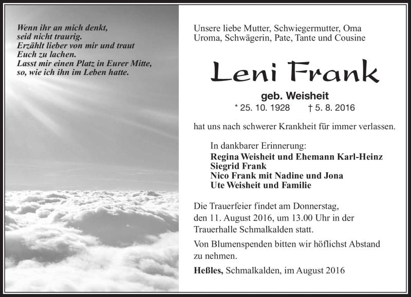 Leni Frank Traueranzeige Südthüringer Presse Gedenkkerzen