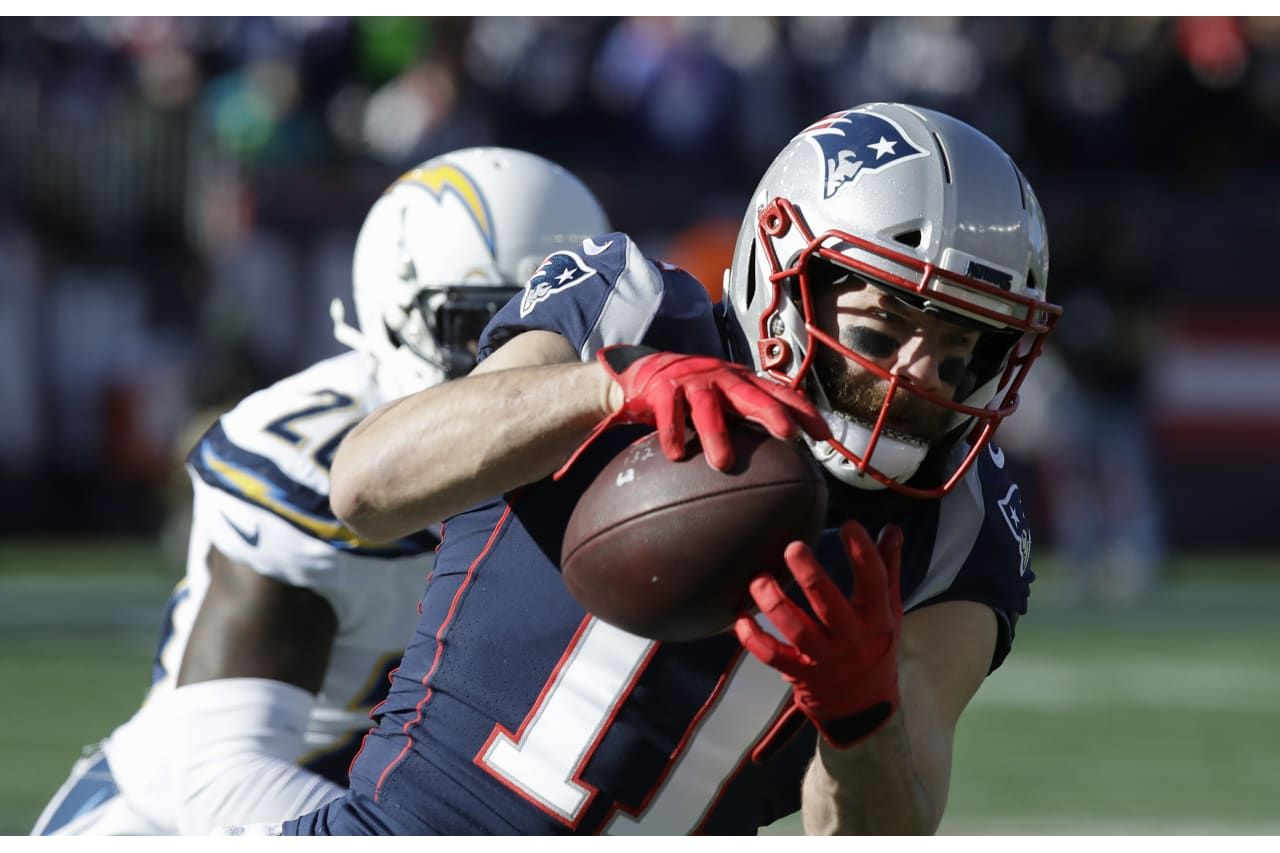 New England Patriots Wide Receiver Julian Edelman 11 Catches A Pass In Front Of Los Angeles Chargers Defensive Back Patriots Playoffs Julian Edelman Patriots