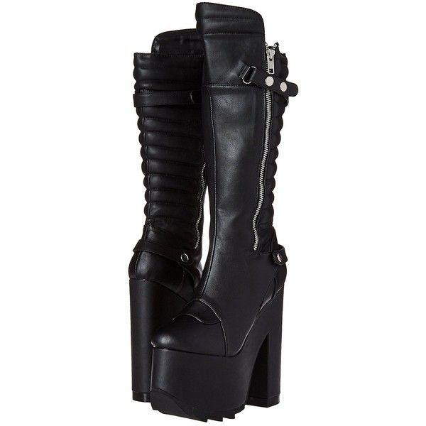 Demonia Women's Cra200/bvl Boot (€110) ❤ liked on Polyvore featuring shoes, boots, knee high boots, wide boots, demonia, knee high shoes and wide width shoes