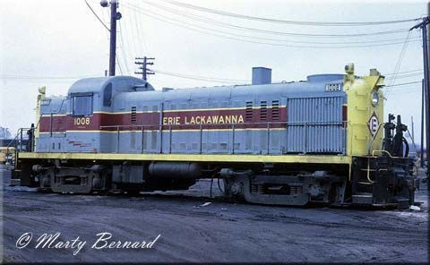 Erie Lackawanna RS3 #1008 brightens up a rather overcast day in Hammond, Indiana on Apirl 2, 1971. This unit was built as Erie #1008 in 1950 and later went on to Conrail.