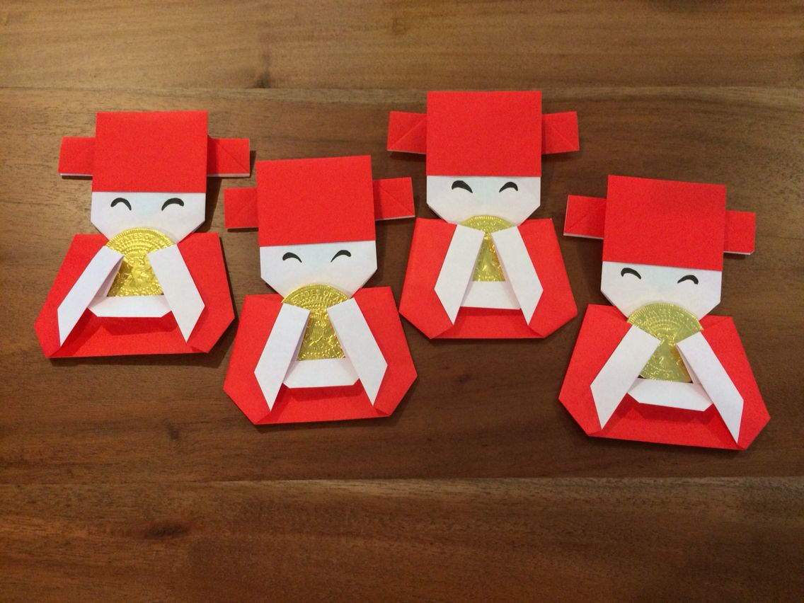 Paper Origami God Of Wealth Chinese New Year Crafts Chinese Crafts Chinese New Year Decorations
