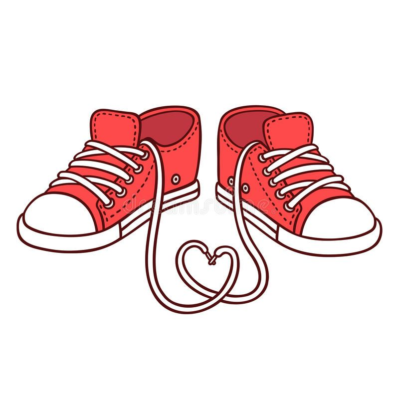 Photo about Pair of red sneakers with laces in heart shape