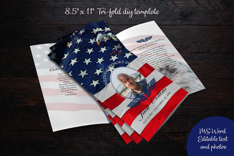 Diy 85x11 trifold funeral program memorial program