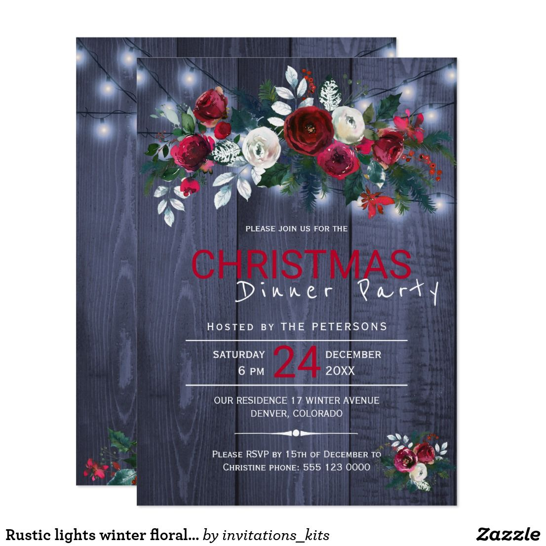 Rustic lights winter floral Christmas dinner party Card | Dinner ...