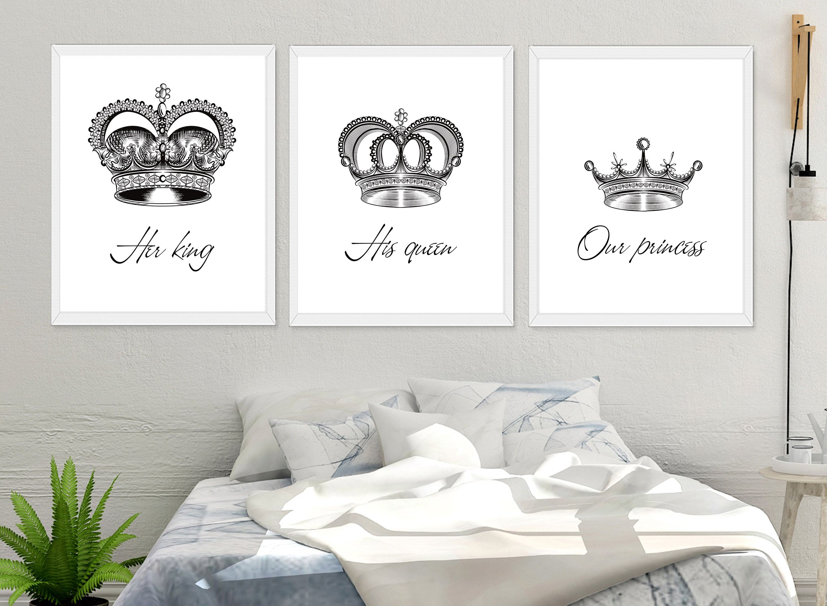 Her King His Queen Print His And Hers Prints Bedroom Prints His