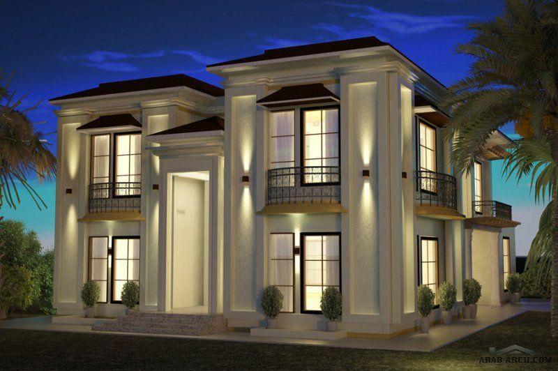 تصميم فيلا أبعاد البيت 24 م عرض X 15 م عمق 5 غرف نوم Modern House Facades Architectural House Plans House Front Design