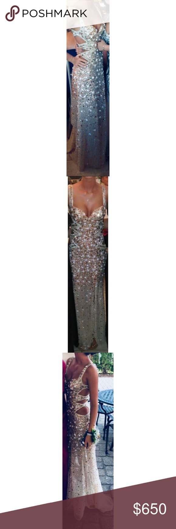 Silver and gold peek a boo prom dress prom dress prom and gold