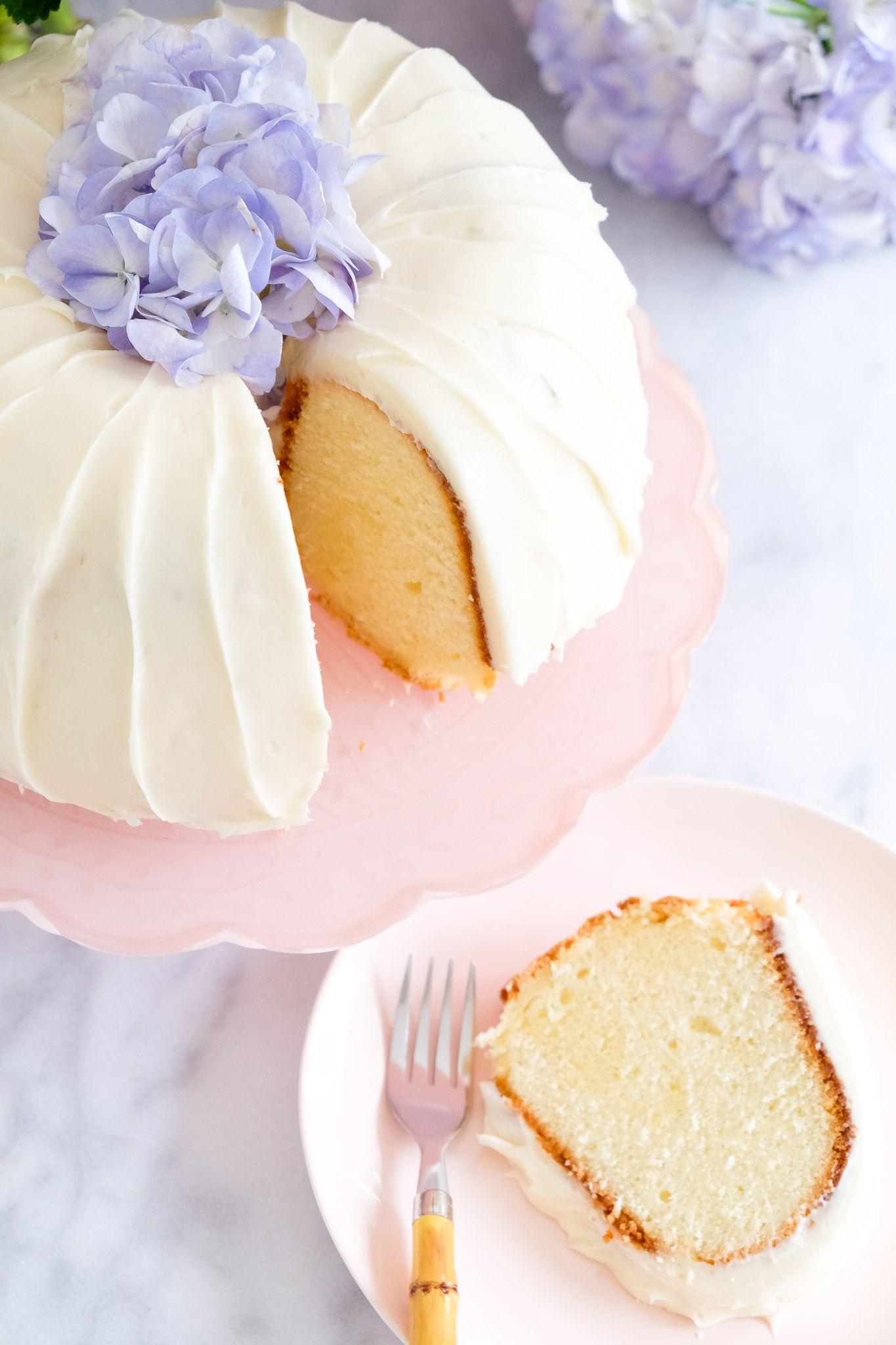 Sour Cream Pound Cake W Cream Cheese Icing Petite Southern Kitchen In 2020 Sour Cream Pound Cake Pound Cake Icing Sour Cream
