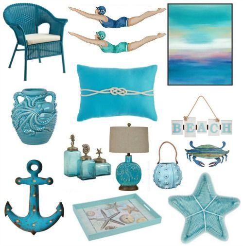 Blue Decor Accessories In Turquoise Aqua For A Splash Of Ocean Blue Decor Seaside Decor Coastal Decor