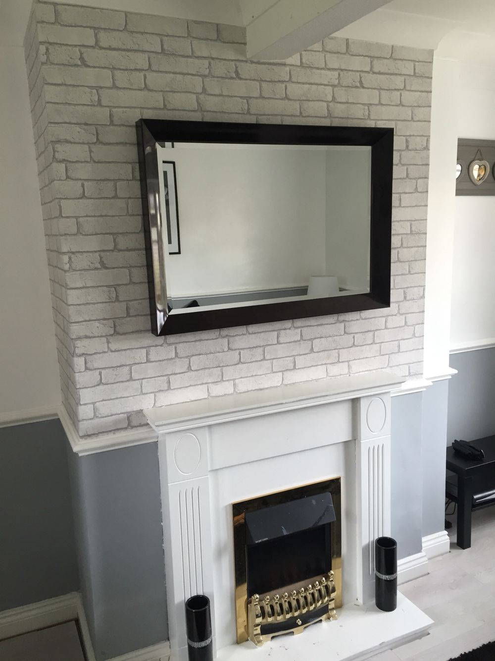 Brick wall wallpaper for chimney breast