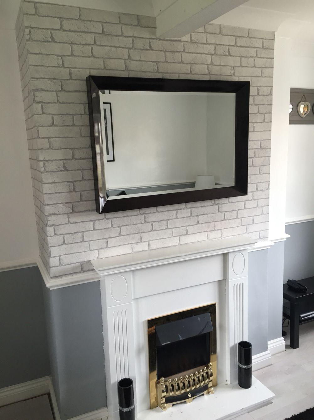 Brick wall wallpaper for chimney breast | living room ...