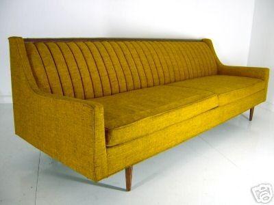 Vintage 4 Seater Sofa, Honey Mustard.