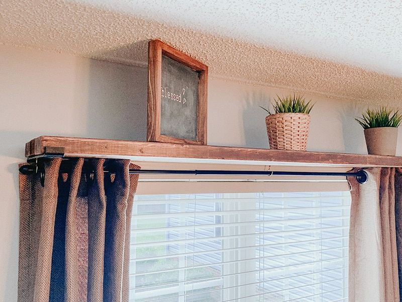 How To Make A Easy And Simple Diy Curtain Rod Shelf Combo In 2020
