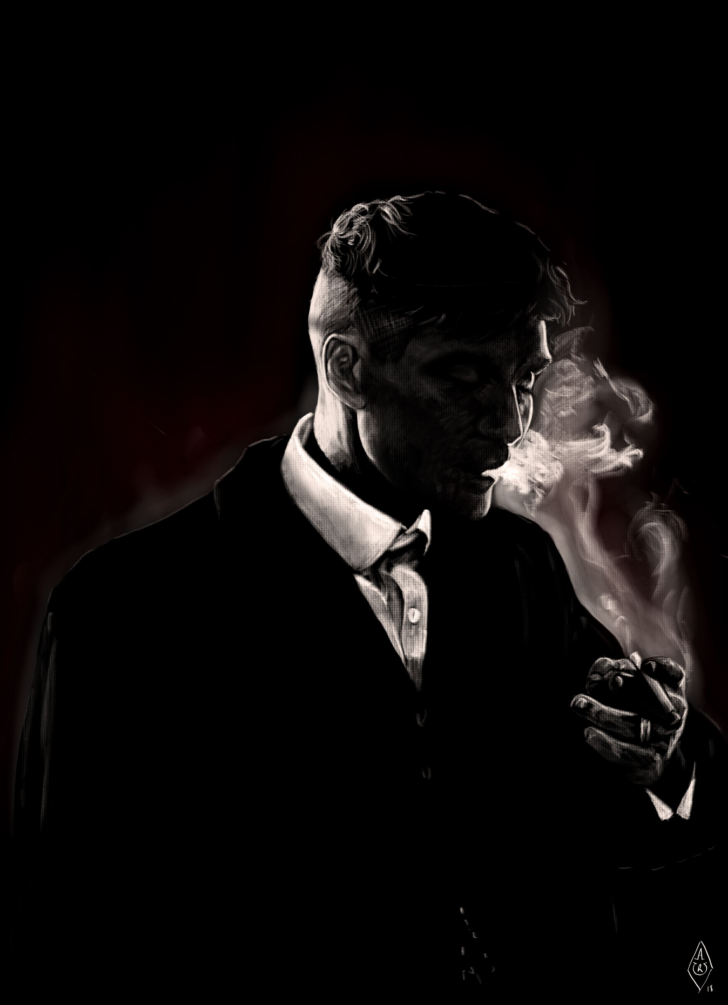 Portrait of Thomas Shelby from Peaky Blinders. Drawn with