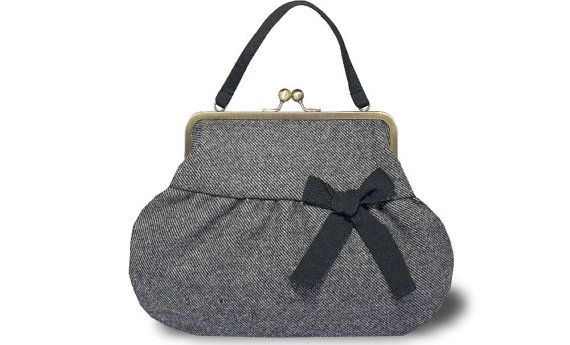 Tessuto di tweed grigio borsetta borsa stile vintage di GERVAISE