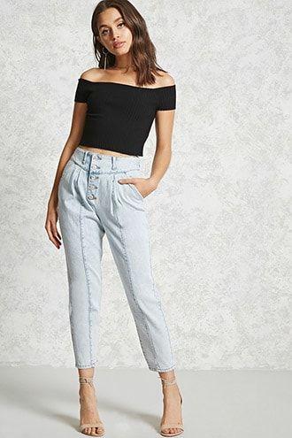 Cropped jeans tiro alto