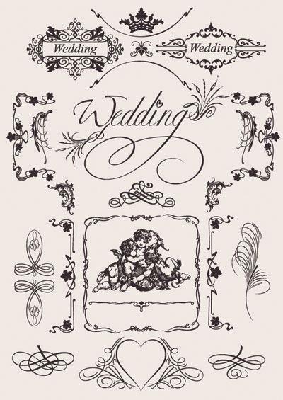 aee035af5da7a Vintage Wedding lace pattern eps vector Ornaments 無料ウェディング素材(結婚招待状・席次表・席礼)  Free Style