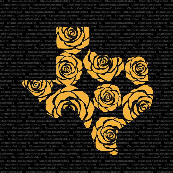 Texas outline rose. Yellow flowers state shape