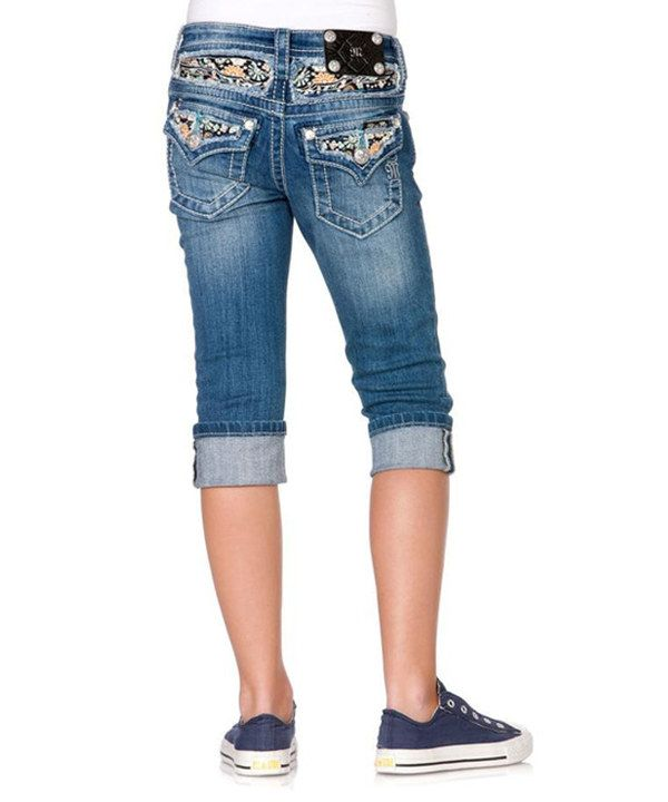 Medium Blue Embellished Pocket Denim Capri Pants | Capri, The o ...