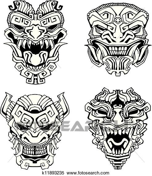 Aztec monster totem masks Clipart | Tattoo | Pinterest | Tattoos ...