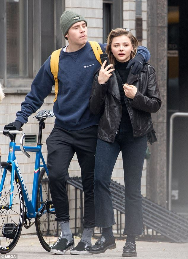 3ed6624cdc Besotted  Brooklyn Beckham and Chloe Moretz looked more loved-up than ever  on Wednesday as.