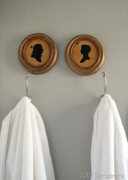 Thrift store silhouettes, gray walls paint color and ...