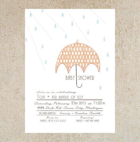 Umbrella Baby Shower Invitation Template By Masonkateshop On Etsy