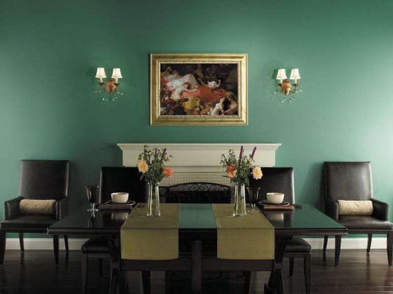 Classic Dining Room Decorating Ideas With Calm Sage Green Wall Paint Color And Lamp