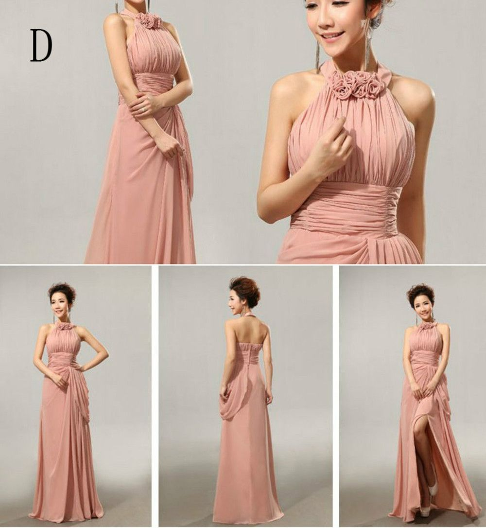 Wedding dress with color  Cheap Custom made Mix style long Split Bridesmaid Dresses colors