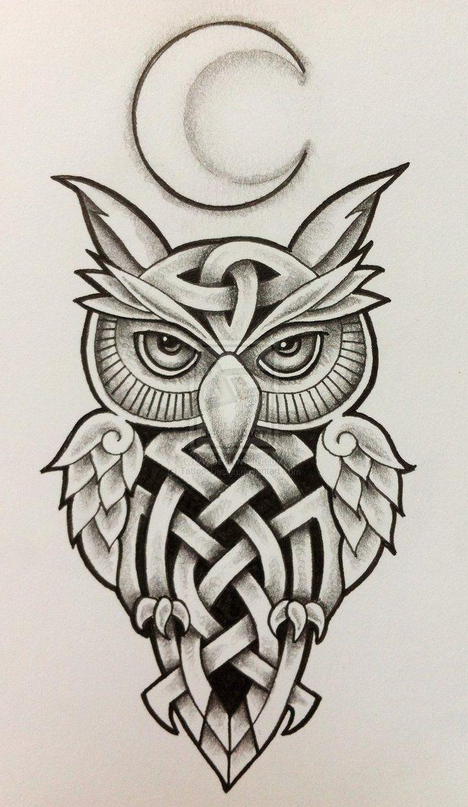 celtic owl and moon by tattoo design on deviantart celtic designs rh pinterest com Tribal Owl Tattoo Designs Protection free tribal owl tattoo designs