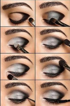 eye makeup tutorial diagram black and silver eye make up face rh pinterest com