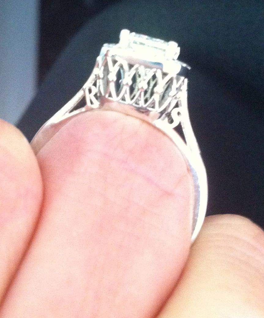 art deco detail under ring with initials that I put into the prongs ...