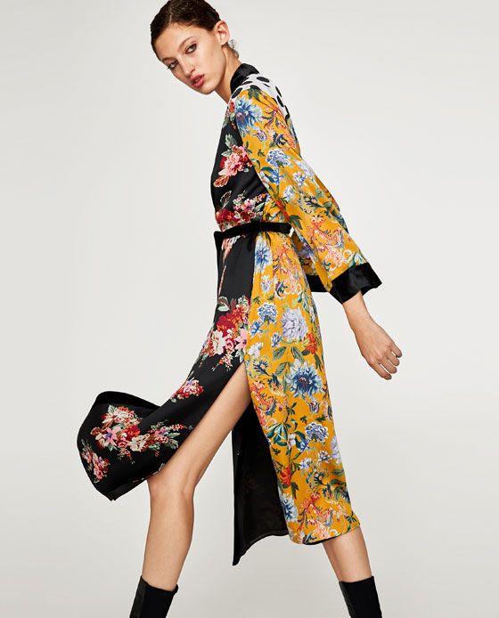 zara kimono winter jacke damen schwarz