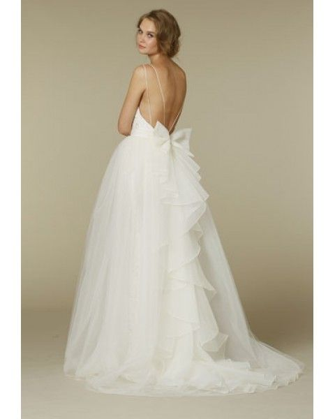 89eac0487 Dramatic Baby Doll Style Court Train Organza Tulle Wedding Dress with Lace  Bodice