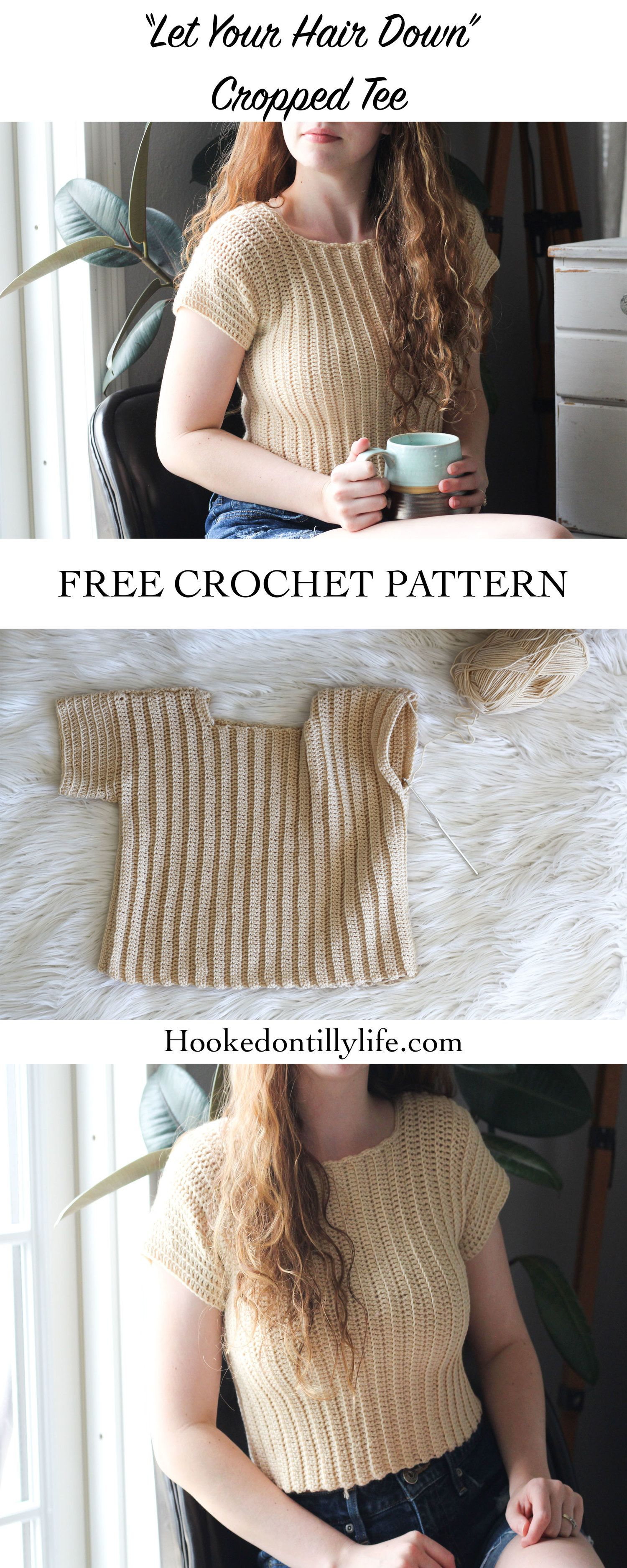 Let Your Hair Down Cropped Tee - Free Crochet Pattern — Hooked On Tilly #crochetclothes