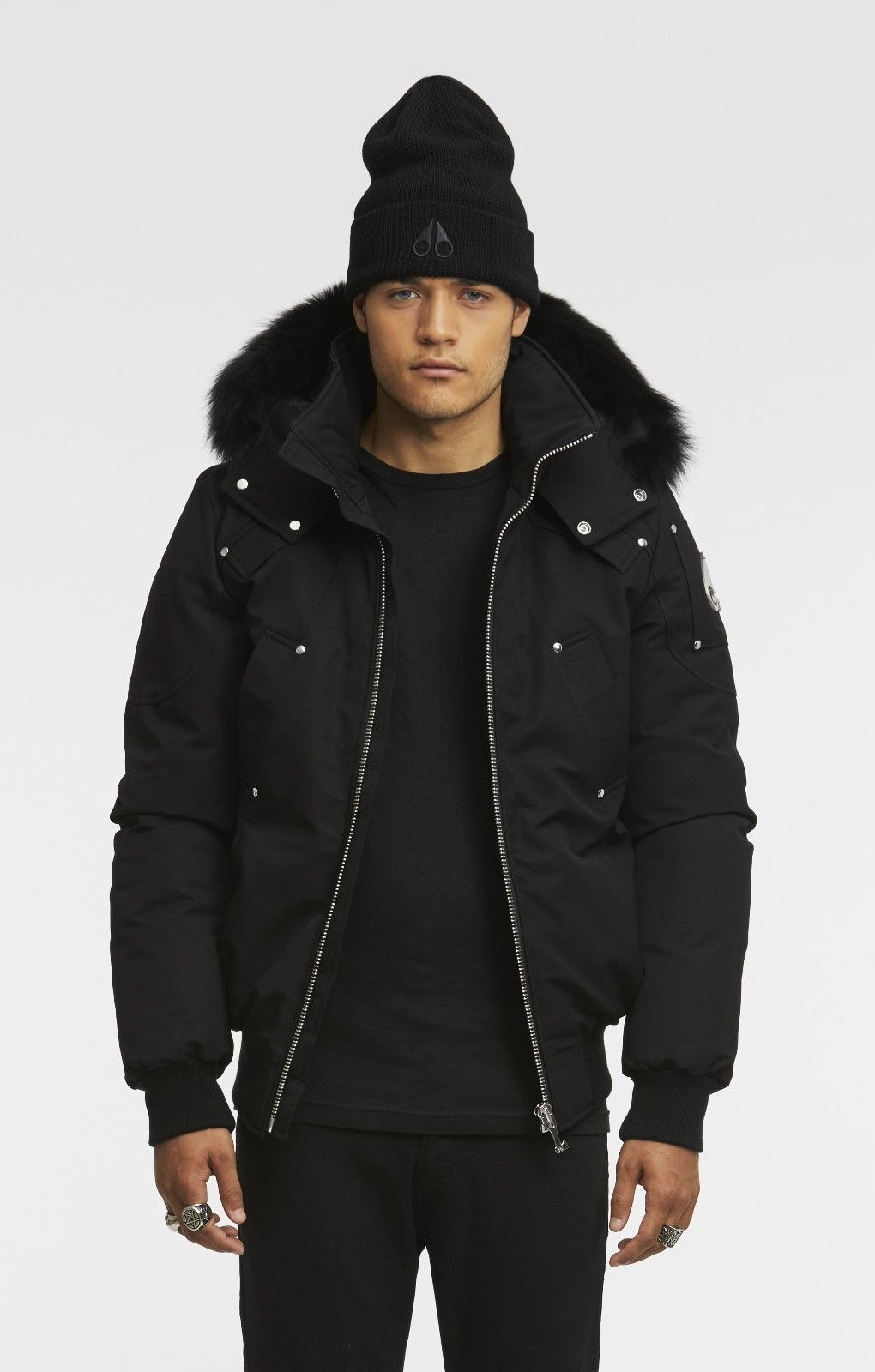 795 Moose Knuckles Ballistic Bomber Mens Hooded Fur Trim Black Jacket Size M Jackets Mens Winter Fashion Trim Jacket [ 1600 x 1020 Pixel ]