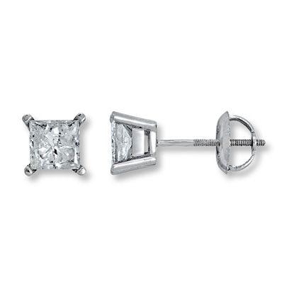 Diamond Earrings 1 2 Ct Tw Princess Cut 14k White Gold
