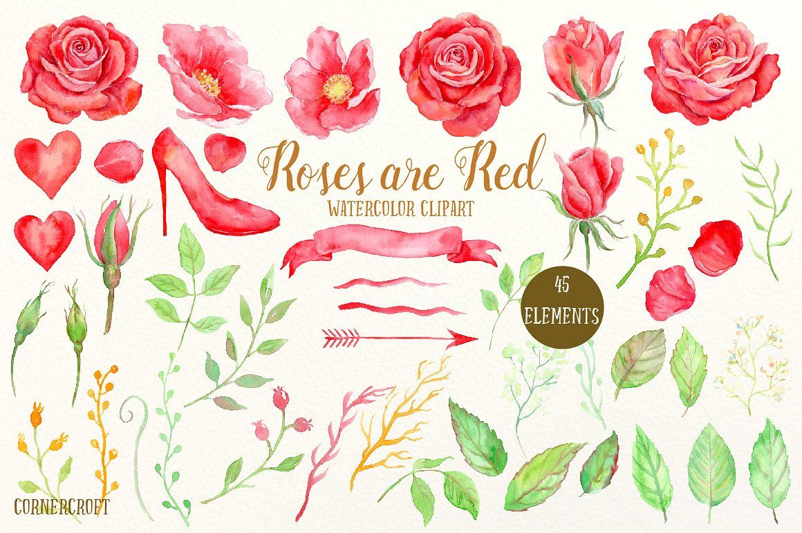 Red Rose Watercolor Clipart Watercolor Rose Watercolor Clipart