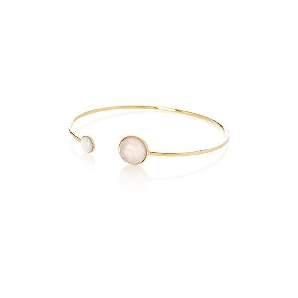 Eva Krystal Dainty Pom cuff bracelet ($100) ❤ liked on Polyvore featuring jewelry, bracelets, pom pom jewelry, poms jewellery, hinged cuff bracelet, cuff bangle bracelet and cuff bracelet