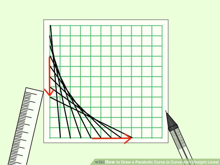 Draw a Parabolic Curve (a Curve with Straight Lines) Curves - hexagonal graph paper template