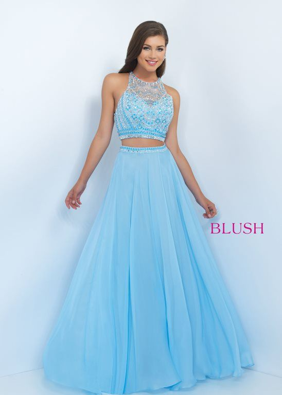 Blush 11063 Jeweled Racerback Crop Top Two Piece Gown