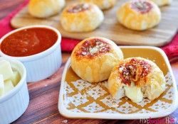 Mozzarella Bubble Biscuits ~ refrigerated biscuits with gooey, cheesy centers and marinara on top   FiveHeartHome.com